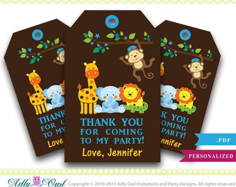 Boy Monkey Jungle Thank you Tags for Baby Shower or Birthday,Safari baby shower,elephant,crocodile,giraffe,lion- digital file only - a063