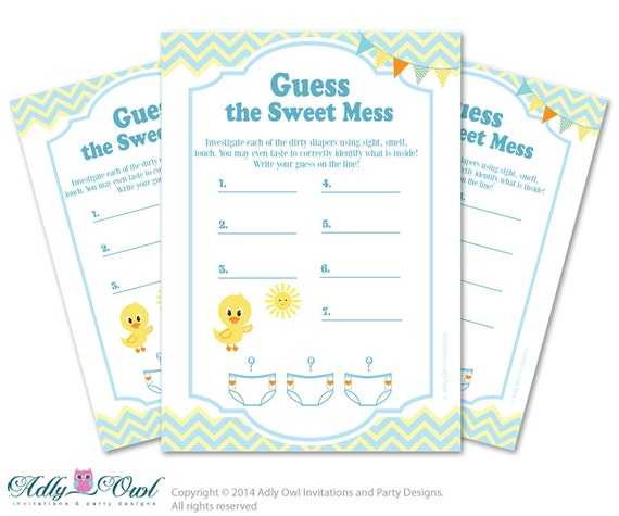 duck dirty diaper game guess sweet mess for baby shower printable