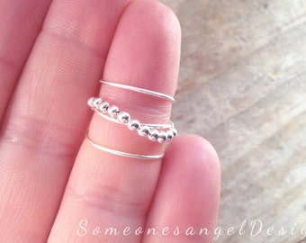 Sterling silver ring, bead ring, knuckle ring, stacking ring, rings, mid finger ring, silver midi ring, adjustable midi ring, silver ring