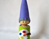 Waldorf Daily Rhythm Gnome ~ Paint, the Painting Day Gnome ~ Art Day ~ Paint Pallet ~ Color Gnome