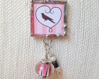 Bird in Heart Glass Soldered Charm Necklace