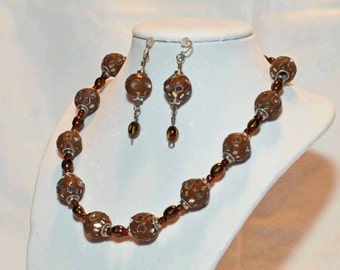 """17.5"""" Brown Mirrored Glass Beaded Necklace w/ Matching Earrings"""