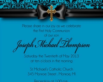 Blue Damask First Communion Invitation, Boys First Communion Invitation - DIY Invite