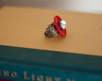 Vintage Button Ring - Red & Rhinestone