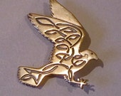 Celtic Falcon Brooch or Pendant in Bronze