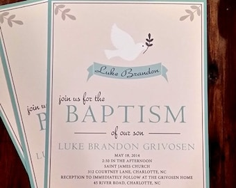 dove baptism / communion invitations