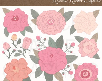 Roses Clipart Hand Illustrated PNG Small Commercial Use