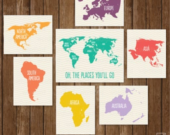 World Map for kids / Playroom decor / Large maps of the world / Nursery boy wall art / Oh the places you'll go / map / Set of 7