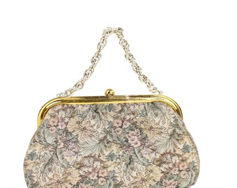 Vintage 60s Tapestry Purse Handbag Floral Fabric Purse Brass Metal Frame Chain Womens Accessories 1960s Mad Men