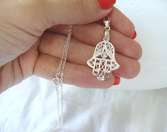 Best Quality Silver Hamsa hand Necklace - Hamsa Hand Necklace, Hand of Fatima Necklace, Hamsa Charm Necklace,Necklace arrives in a gift box!