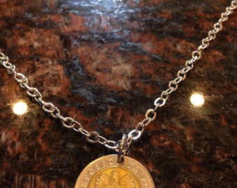 Poland 5 zloty coin necklace