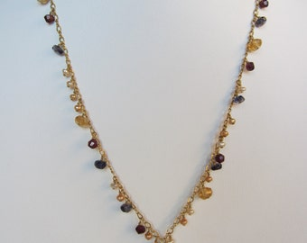 Champagne Citrine Pendant, Garnet, Iolite, Multi-Colored Tourmaline, Pearl Handmade Necklace with 14K Gold Filled Chain
