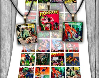 """Horror Comics- Digital Collage Sheet 18x18 mm 1x1"""" 1.5x1.5 inch Square Images Printable Images - Instant download"""