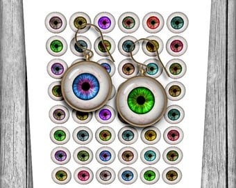 Digital Collage Sheet - Human Eyes - Digital Eyes 20mm, 18mm, 16mm, 14mm - Instant Download