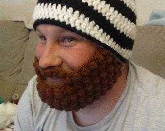 Handmade Crochet Bobble Beard Beanie