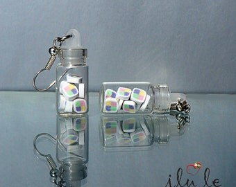 Ear candy jars   gum earrings   earrings candy jar   miniature polymer clay   suspension jar with sweets   candy earrings