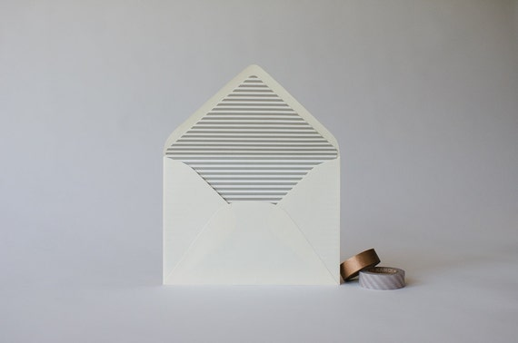 thin horizontal stripe lined envelopes (25 color options) - sets of 10