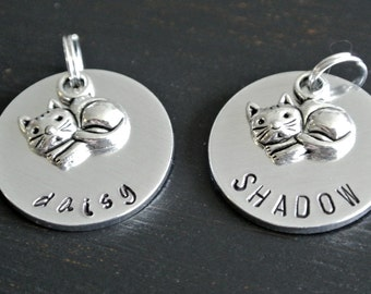 Cat ID Name Tag | Pet Tag | Hand Stamped Aluminum Tag