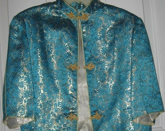 Vintage Oriental Dress with Mandarin Collar Jacket in Turquoise and Gold Satin