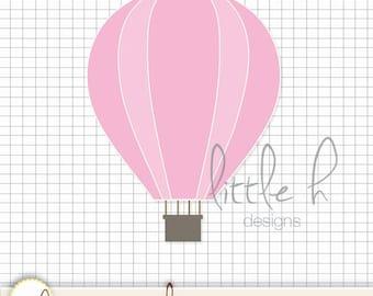 SINGLE! Pink Hot Air Balloon Clip Art  - Digital Files PNG  / Clipart