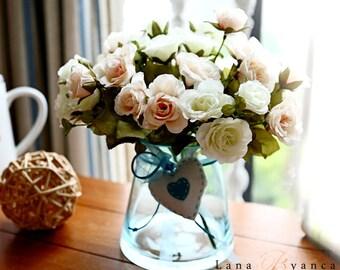Silk Flowers Arrangement Mini Rose Roses Love Heart Blue
