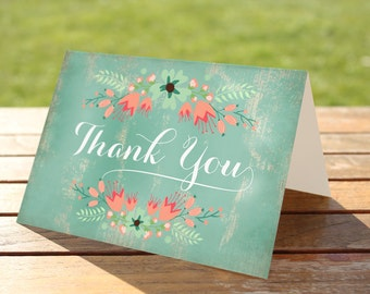 50% OFF.Printable Rustic Thank You Cards - INSTANT Download, floral thank you card, mint and coral cards, rustic mint thank you cards