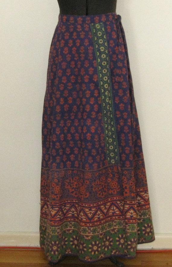 70 s indian wrap skirt maxi skirt floor length cotton