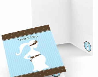 Set of 8 Blue Baby Shower Thank You Cards -  It's A Boy Baby Shower Party Supplies