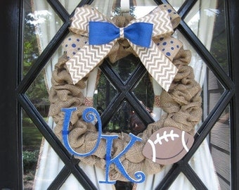 UK Burlap Wreath - University of Kentucky Wreath - Football Wreath - Basketball Wreath