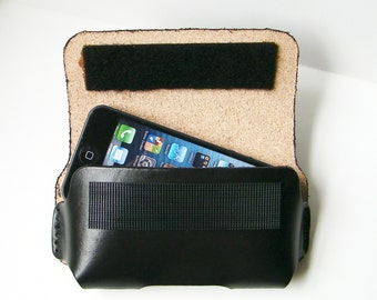 Black Leather Smart Phone Case, Industrial Velcro closure, loop through your belt, Fits iphone 5, iphone 4, 4s, Samsung Centura