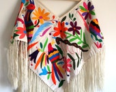 Handembroidered #Poncho (#Huipil) Available in white, multicolor, #Otomi designs. One Size fits all. FREE SHIPPING