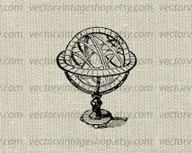 Astronomy Clipart Armillary Vector Graphic Sphere Astronomy Globe Victorian Decor Scientific Vintage illustration Instant Download WEB1703BF
