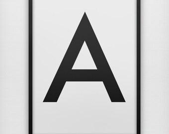 Sans Serif Black Alphabet Letter, single initial, art print poster typography uppercase capitalized