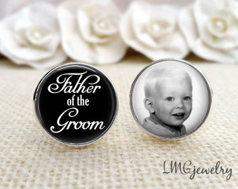 Father of the Groom Cufflinks, Photo Cufflinks, Personalized Wedding Cufflinks, Father of the Groom Gift, Wedding Gift, Father of the Groom