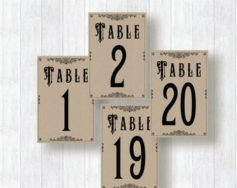 Wedding Table numbers vintage print able 1-20, Vintage table numbers ... Vintage Table Numbers