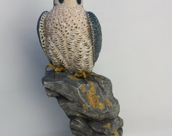 Peregrine Falcon  - Lifesize - Wildfowl Wood Carving - Bird Art