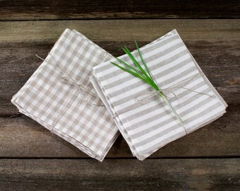 striped linen napkins check linen napkins striped napkins set gingham napkins set