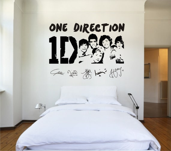 one direction vinyl wall sticker by thevinylartstudio on etsy. Black Bedroom Furniture Sets. Home Design Ideas