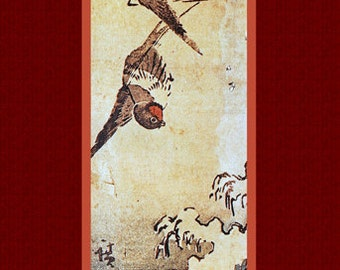 "Asian antique art. ""Flowers and Birds"" (6) by Ando Hiroshige. Old Japanese painting."