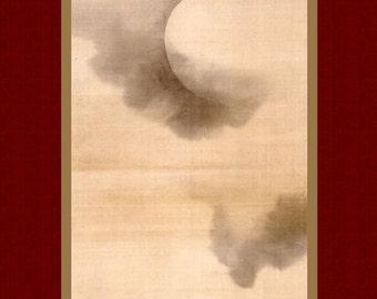 """Print art. """"Moon"""" by Sakai Hōitsu. Old Japanese print. Japanese antique art. Fine art. Print art."""