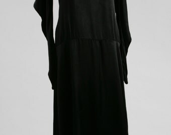 1920s Avant Garde Black Satin Dress, 1920s Dress, Art Deco Dress, Vintage Dress, Flapper Dress, Vintage Evening Dress, Cocktail Dress