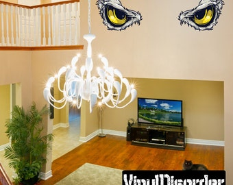 Predator Eyes Wall Decal - Wall Fabric - Vinyl Decal - Removable and Reusable - PredatorEyesUScolor002ET