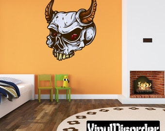 Skull Wall Decal - Wall Fabric - Vinyl Decal - Removable and Reusable - SkullUScolor038ET