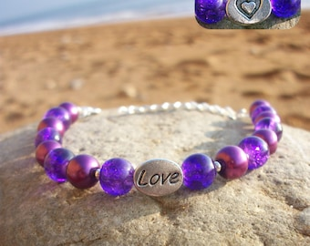 Love / heart purple bracelet ⁓ reversible