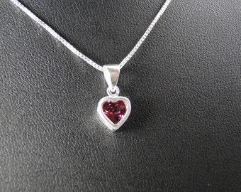 Heart Shaped Rhodolite Garnet Sterling Silver Pendant