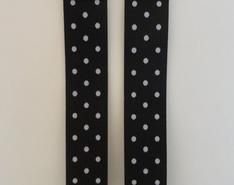 suspenders black polka dots-genuine leather-black color