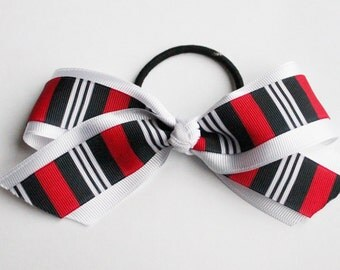 Red, black, and white cheer hair bow