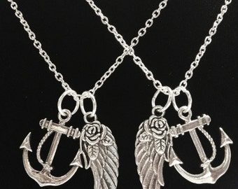 2 Necklaces You Are My Anchor Of Hope Angel Wing BFF Best Friends Couple's Sisters Necklace Set