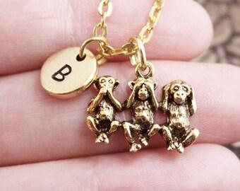 Gold See No Evil Hear No Evil Speak No Evil Necklace, Initial Necklace, Pendant Necklace, Charm Necklace, Monogram Necklace, Monkey Necklace