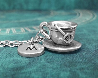 Teacup Necklace, Initial Necklace Personalized Necklace, Engraved Necklace, Custom Necklace, Teacup Charm Necklace Monogram Tea Necklace